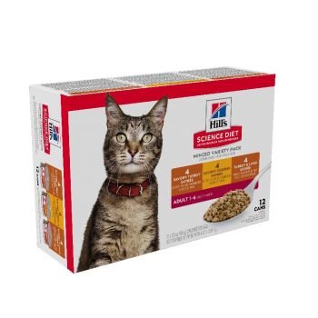 Hill's Science Diet Adult Canned Cat Food Variety Pack, Savory Entrée Turkey & Liver, Chicken, and Turkey, 5.5 oz