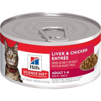 Hill's Science Diet Adult Canned Cat Food, Liver & Chicken Entrée, 5.5 oz