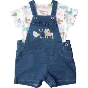 John Deere Infant Girl's Farm Scene Shortall