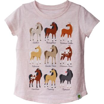 John Deere Toddler Girl's Horse Breeds T-Shirt