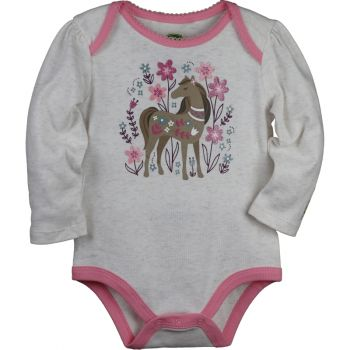 Infant Girl's John Deere Long Sleeve Horse Garden Bodysuit