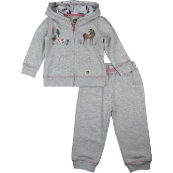 Newborn Girl's John Deere 2pc Farm Animal Sweat Pant & Zip Hooded Set