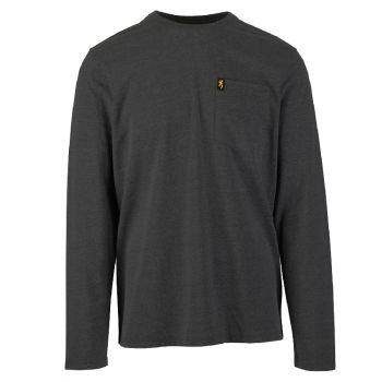 Browning Long Sleeve Pocket Tee, Heather Charcoal, L