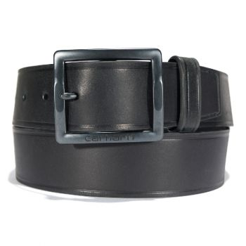 Carhartt Bridle Leather Heat Creased Belt, Black with Matte Gunmetal Finish