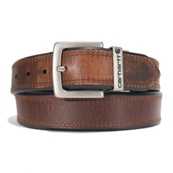 Carhartt Oil Finish Leather Reversible Belt Brown/Black with Nickel Roller Finish
