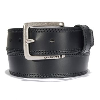 Carhartt Leather Engraved Buckle Belt Black with Nickel Roller Finish