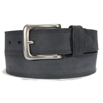 Carhartt Leather Triple Stitch Belt Black with Antique Nickel Finish
