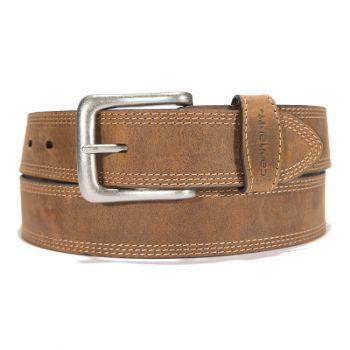Carhartt Leather Triple Stitch Belt Brown w/ Antique Nickel Finish