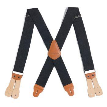 Carhartt Elastic Two-Tone Suspenders Black with Steel Stripe, 52