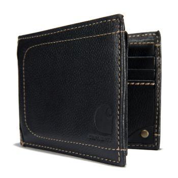 Carhartt Pebble Leather Passcase Wallet, Black