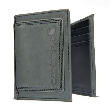 Carhartt Leather Triple-Stitched Trifold Wallet, Black