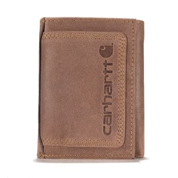 Carhartt Detroit Leather Triple-Stitched Trifold Wallet, Brown