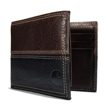 Carhartt Leather Two-Tone Passcase Wallet, Brown & Black