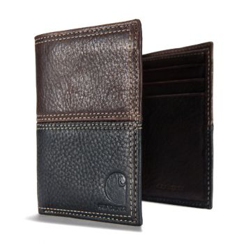 Carhartt Leather Rugged Two-Tone Trifold Wallet, Brown & Black