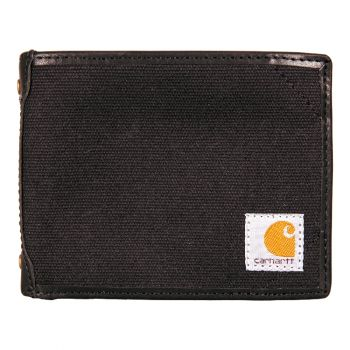 Carhartt Canvas  Leather Trim Passcase Wallet, Black