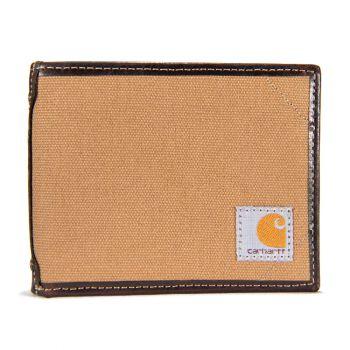 Carhartt Canvas  Leather Trim Passcase Wallet, Carhartt Brown