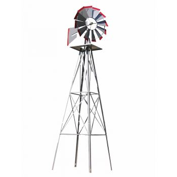 SMV 8' Silver/Red Windmill