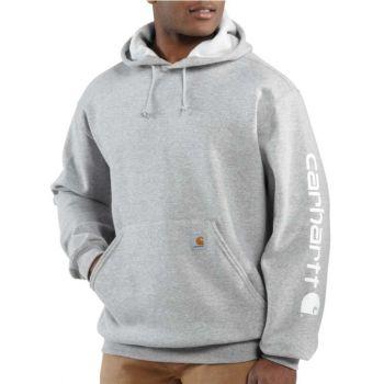 Men's Midweight Hooded Logo Sweatshirt - Heather Gray,XXL