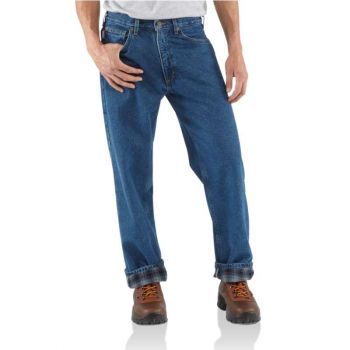 Men's Relaxed-Fit Straight-Leg Jean / Flannel-Lined – Darkstone