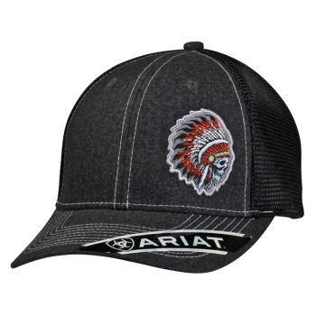 Chief Skull Indian Headdress Snap Back Cap