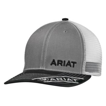 Mesh Snap Back Baseball Cap, Grey Black