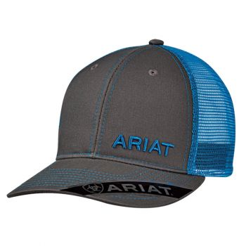 Charcoal with Blue Mesh Snap Back Cap