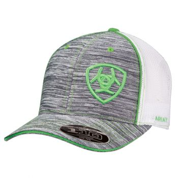 Flex Fit Heather Grey with Green Logo Mesh Snap Back Cap
