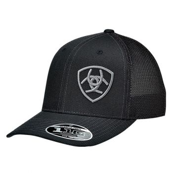 Solid Black Corner Logo Mesh Snap Back Cap