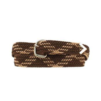 Brown/Tan Machine Woven Braided Belt, 52