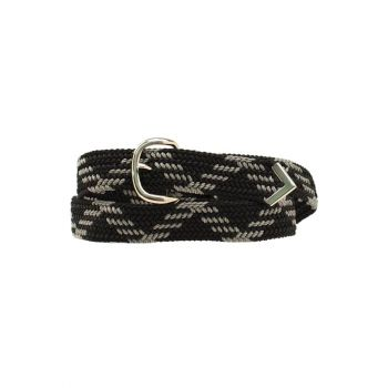Black/Grey Machine Woven Nylon Braied Belt
