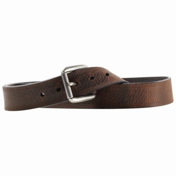 Dark Brown Triple Stitch Leather Belt