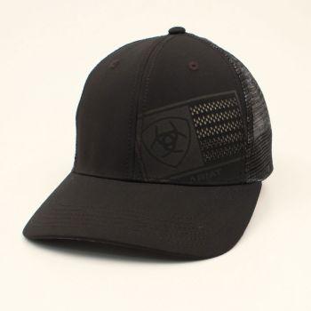 Black Mesh Snap Back w/ Laser Flag Cap
