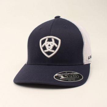 Navy w/ White Mesh Snap Back Signature Cap