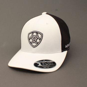 White Embroidered Shield Logo Flex Fit Cap