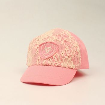 Infant Light Pink Ivory Lace Ball Cap