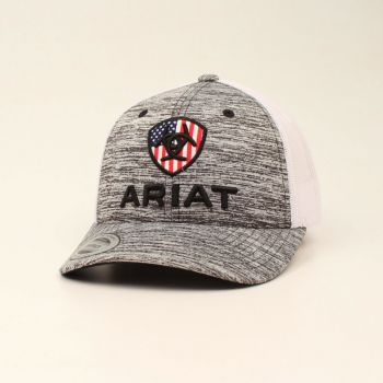 Youth Grey/White Flag Inlay Shield Logo Snap Back Cap
