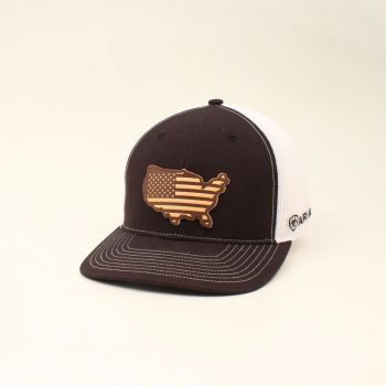 Black w/ USA Leather Patch Cap