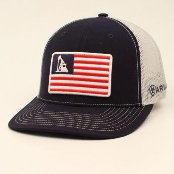 Blue Oil Rig USA Flag Patch Mesh Snap Back Cap