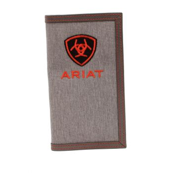 Grey w/ Red/Black Shield Logo Cotton/Leather Rodeo Wallet