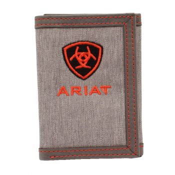 Grey Embroidered Logo Cotton/Leather Tri-Fold Wallet