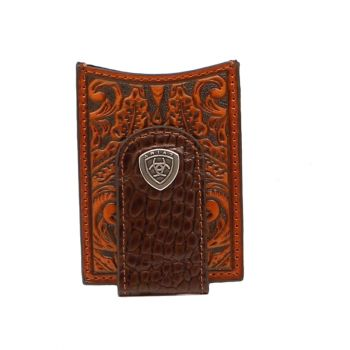 Leather Floral w/ Shield Concho Money Clip