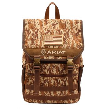 Camo Embroidered USA Flag Backpack