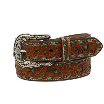Tan Western Embossed Turquoise Inlay Belt