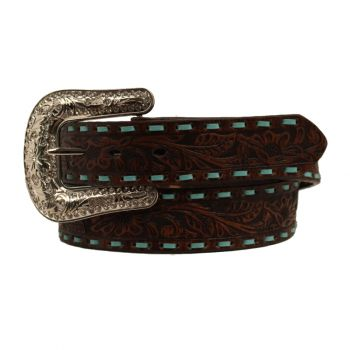Brown Embroidered Concho Cross Belt