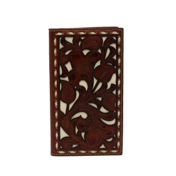 White Underlay Tooled Rodeo Style Wallet