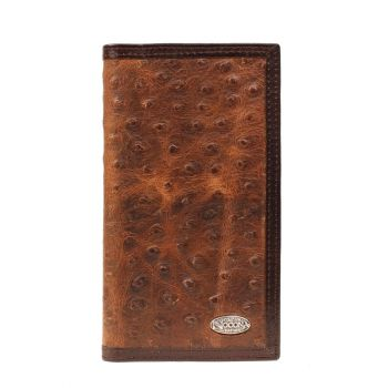 Vintage Ostrich Print Leather Rodeo Wallet