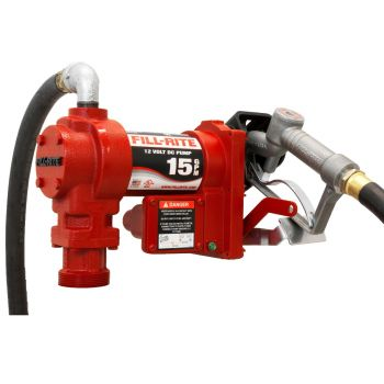 12V 15 GPM Fuel Transfer Pump W/ Discharge Hose, Manual Nozzle, Suction Pipe