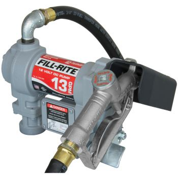 12V DC 1/4 HP Fuel Transfer Pump W/10 Ft. Static Wire Hose, Manual Nozzle & Suction Pipe