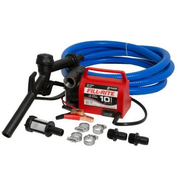 12V 10 GPM Portable Diesel Fuel Transfer Pump, Suction and Discharge Hose, & Manual Nozzle