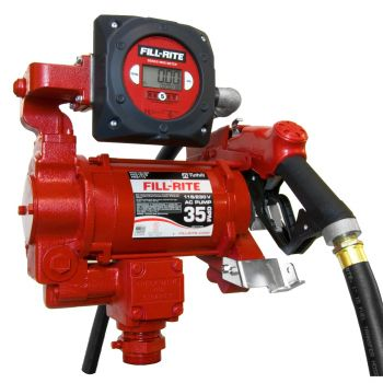 115/230V 35 GPM Fuel Transfer Pump with Discharge Hose, Automatic Nozzle, & Digital Meter